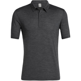 Icebreaker Solace Polo Manga Corta Hombre, black heather